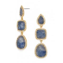 Blue pave trim 3 drop earrings