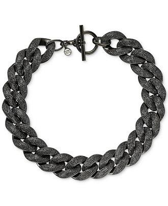 Michael Kors Black pave link necklace
