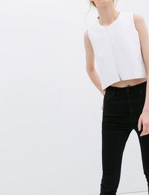 Zara White Sleevless Top