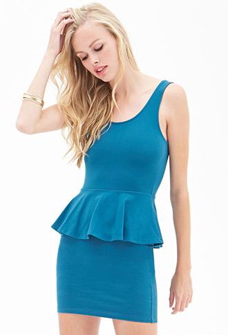Forever 21 Classic Peplum Dress Turquoise