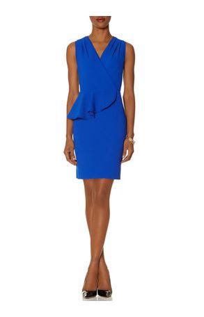 Limited Peplum Ruffle Sheath Dress Cobalt Blue