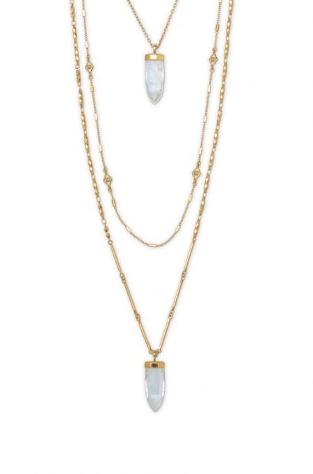 Layered quarts pendant necklace