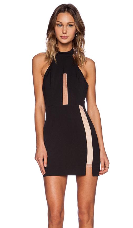 Black halter dress with nude mesh panels