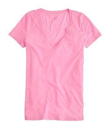 Neon Pink V Neck Tee