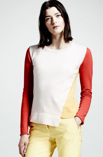 White orange and yellow colorblock sweater with asymmetric hem