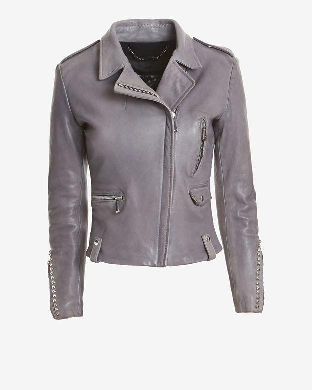 Barbara Bui Intermix Exclusive Grey Leather Moto Jacket