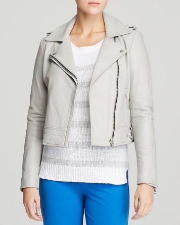 Dylan Grey Leather Moto Jacket