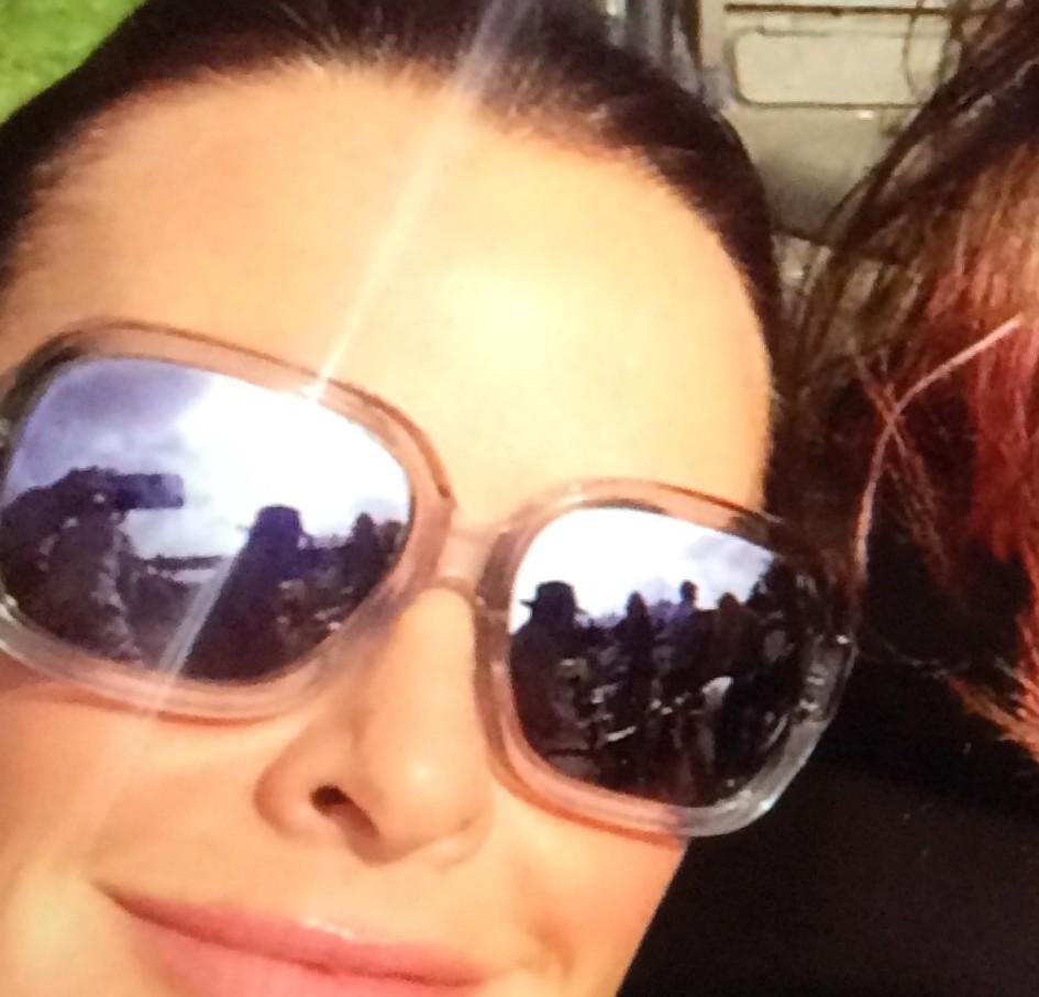 Kyle Richards wearing the Sama Sunglasses with Ice Lenses