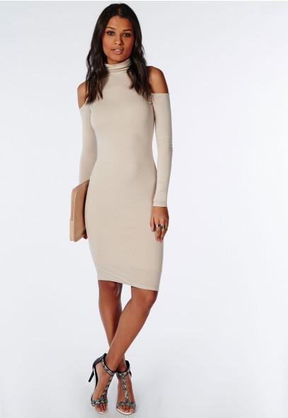 Missguided Jersey Gold Shoulder Dress