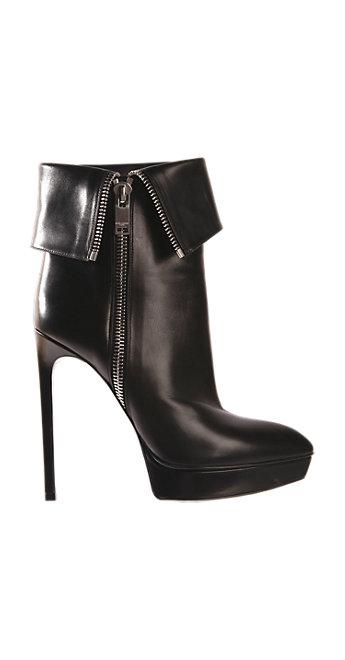 Black leather foldover platform bootie