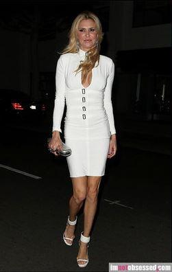Brandi Glanville white keyhole dress with buckles