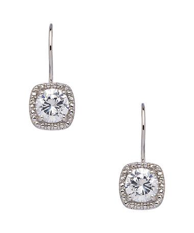 Square CZ Drop Earrings