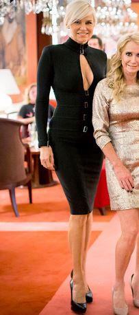 Yolanda Foster wearing a black keyhole dress