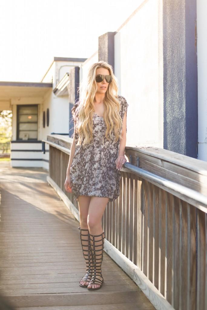 Lauren Sebastian BigBlondeHair.com wearing the MK Collab Katy Dress