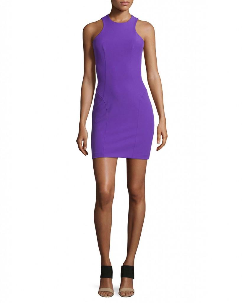 Purple racer dress with black exposed zipper