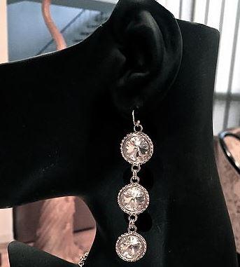 3 Tiered Rivoli Crystal Earrings