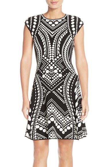 Adriana Papell Fit & Flare Intarsia Dress