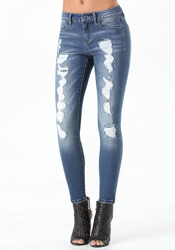 Bebe Destroyed Skinny Jeans