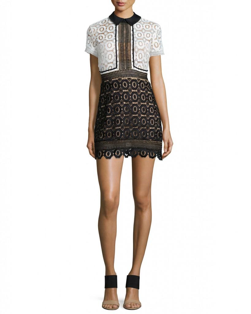 Paris Hiltons White Dress with Black Lace Detail