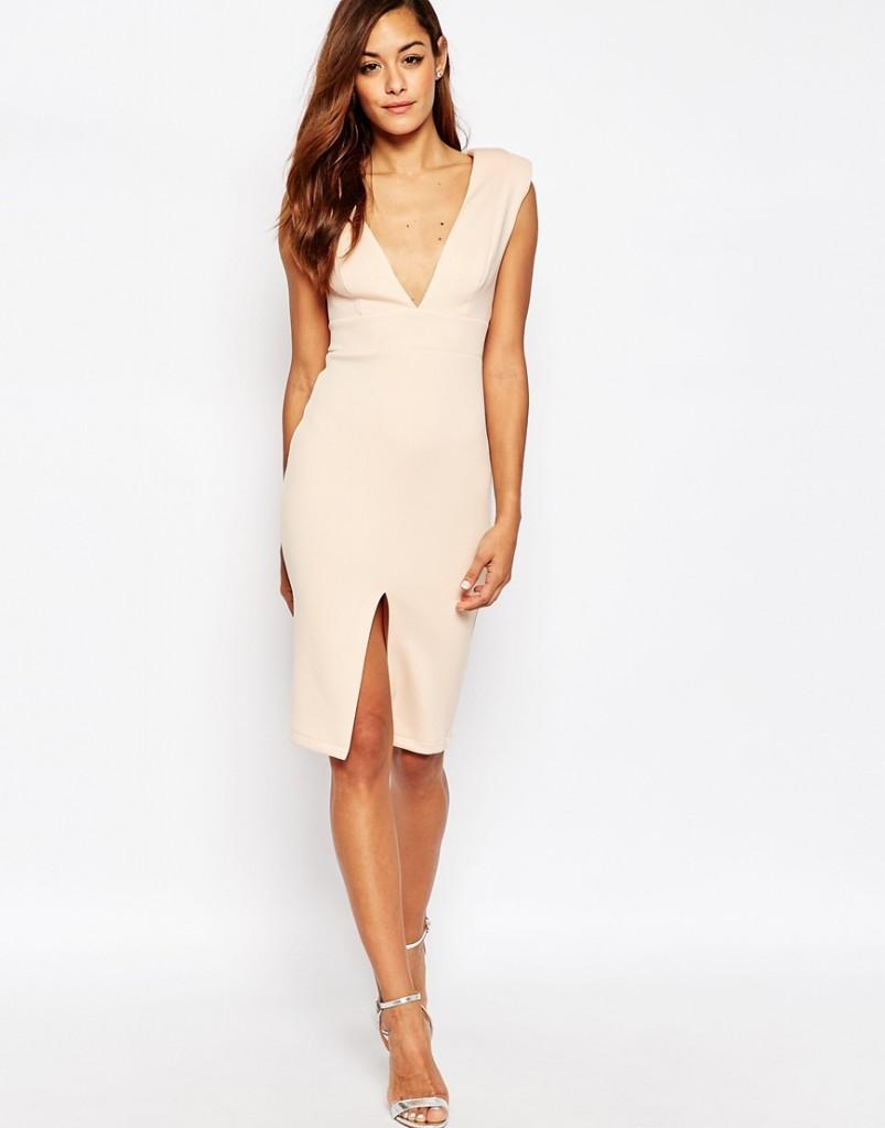 ASOS Pink Plunging Shoulder Pad Dress