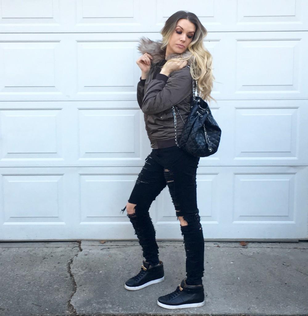 Lauren Loves: A Faux Fur Trim Bomber Jacket