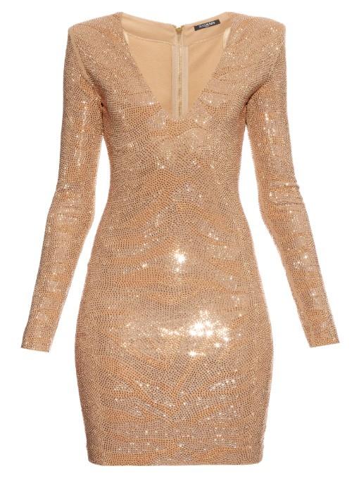 Nude and gold crystal studded balmain dress