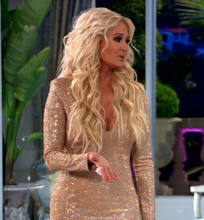 Erika Girardi's Gold Nude Crystal Embellished Reunion Dress