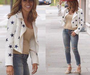 Melissa Gorga wearing the Christina Karin Embroidered Star Jacket