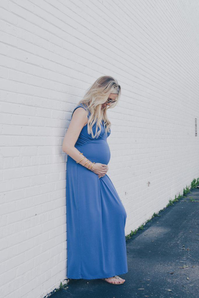 Pregnant Fashion Blogger in Cobalt Blue Maxi Dress