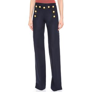 Veronica Beard Wide Leg Sailor Pants with gold buttons