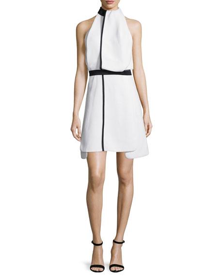 Victoria Beckham White Draped Two Tone Dress