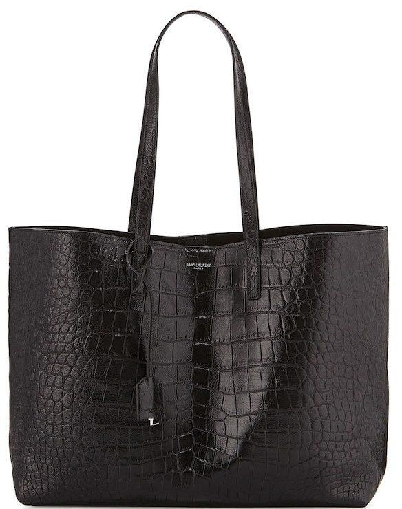 Saint-Laurent-Black-Croc-Embossed-Shopping-Tote-Large-Bag