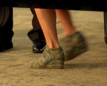 Vicki Gunvalson's Washed Camo Desert Wedge Shoes