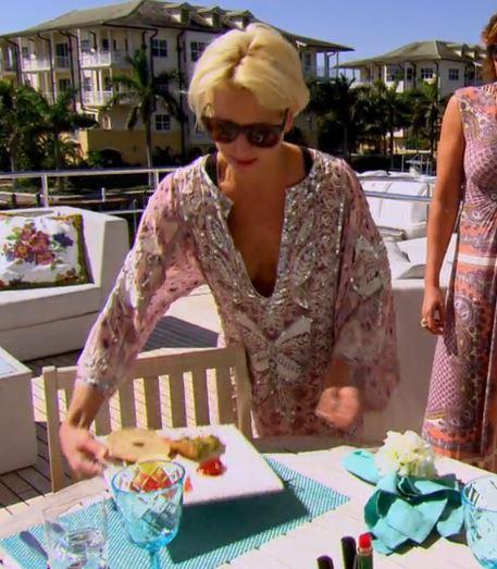 Dorinda Medley pink sequin caftan in Miami