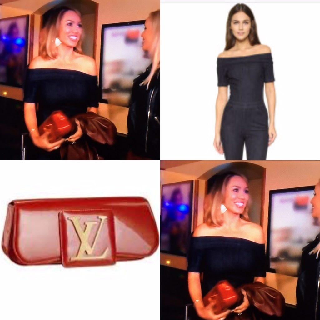 Kelly Dodd's3x1 Dark Denim Off the Shoulder Jumpsuit and Red Patent Louis Vuitton Purse
