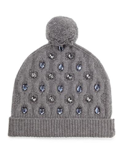 grey jewel embellished pom pom cable knit hat