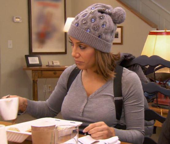 Melissa Gorga's Grey Jewel Embellished Hat with Pom Poms