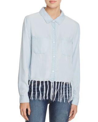 Aqua Chambray Fringe Shirt