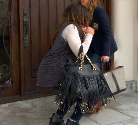 Dolores Catania's black fringe chain strap beaded purse