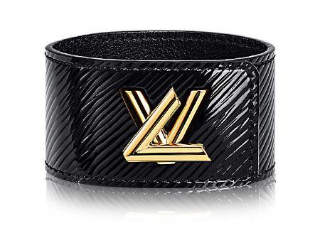 Black leather cuff bracelet by LV