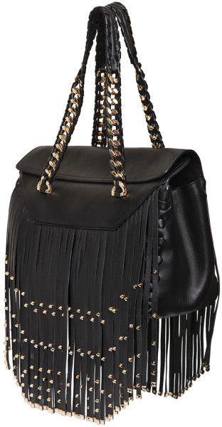 large fringe beaded chain strap purse