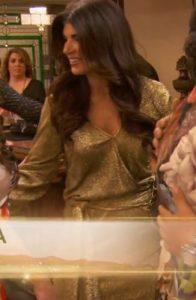 Teresa Giudice Gold Fuax Wrap Dress