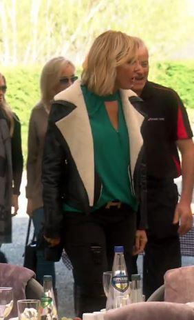 Vicki Gunvalson's shearling trim leather jacket in ireland