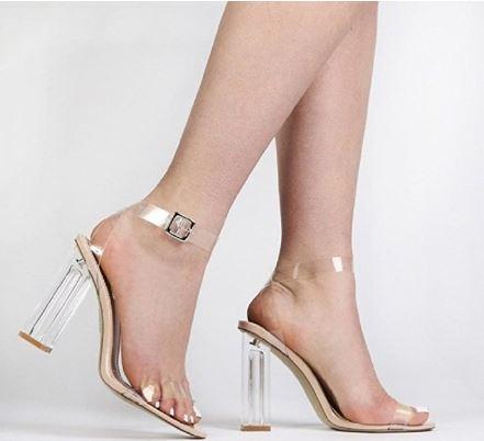 Clear Block Heel Sandals