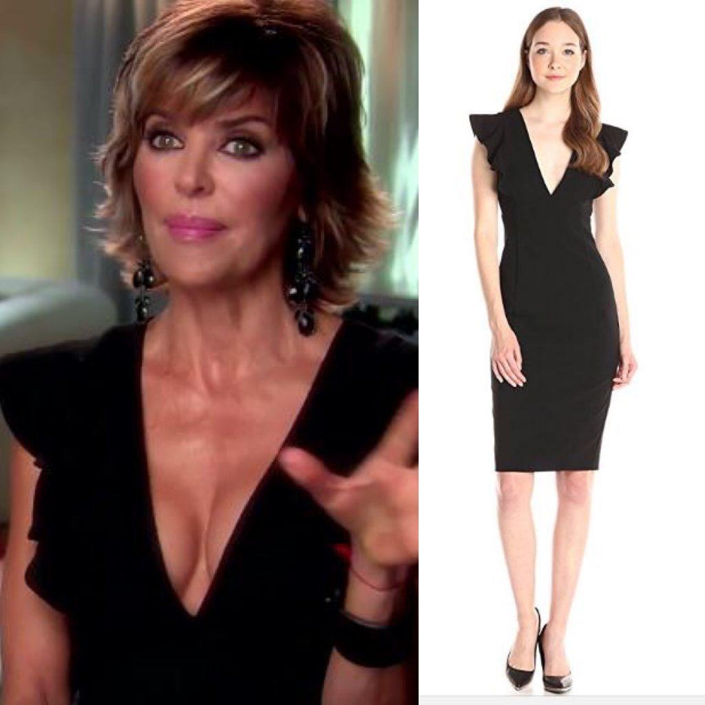 Lisa Rinna's Black Ruffle Sleeve Deep V Interview Dress