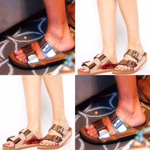 Kyle Richards' Rose Gold Birkenstock Sandals
