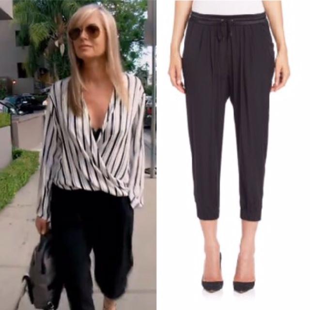 Eileen Davidson's Striped Wrap Blouse and Black Pants