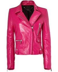 barbara bui pink leather moto jacket seen on Dorit Kemsley