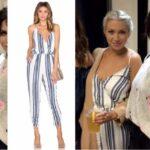 Stassi Schroeder's Blue & White Striped Jumpsuit