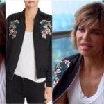 Lisa Rinna's Black Floral Embroidered Bomber Jacket